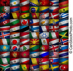 różny, kraj, bandery, zbiór