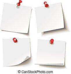 różny, listki, przypięty, czerwony, pushbutton, gotowy, dla, twój, wiadomość