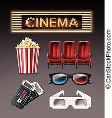 różny, materiał, kino