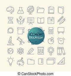 różny, modny, szkic, ikony, collection., sieć, i, ruchomy, app, cienka lina, ikony, set., wykształcenie