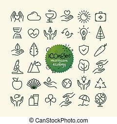 różny, modny, szkic, ikony, collection., sieć, i, ruchomy, app, cienka lina, ikony, set., healthcare