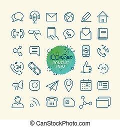 różny, modny, szkic, ikony, collection., sieć, i, ruchomy, app, cienka lina, ikony, set., kontakt, informacja