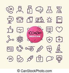 różny, modny, szkic, ikony, collection., sieć, i, ruchomy, app, cienka lina, ikony, set., medycyna
