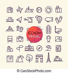 różny, modny, szkic, ikony, collection., sieć, i, ruchomy, app, cienka lina, ikony, set., podróż