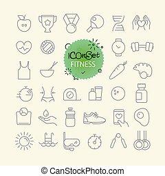 różny, modny, szkic, ikony, collection., sieć, i, ruchomy, app, cienka lina, ikony, set., stosowność