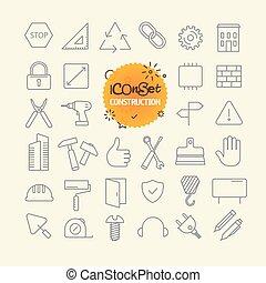 różny, modny, szkic, ikony, collection., sieć, i, ruchomy, app, cienka lina, ikony, set., zbudowanie