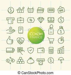 różny, modny, szkic, ikony, collection., sieć, i, ruchomy, app, cienka lina, ikony