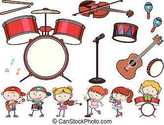 różny, muzyczne instrumenty, i, dzieciaki