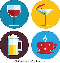 różny, napój, napój, ikony