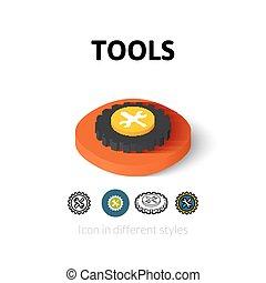 różny, narzędzia, styl, ikona