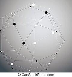 różny, nowoczesny, abstrakcyjny, obiekt, ścianka, oczko, ...