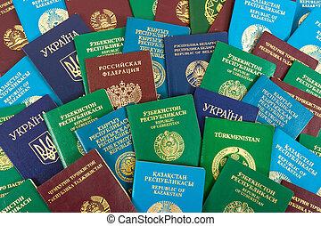 różny, obcokrajowy, paszporty, jak, tło