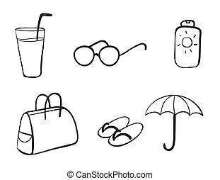 różny, obiekty, plaża