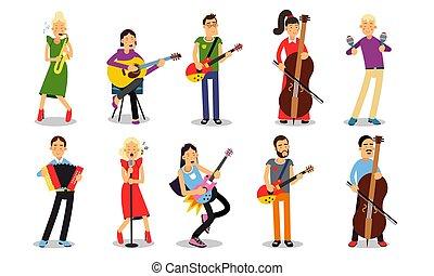 różny, odizolowany, biały, komplet, grające instrumenty, muzycy, backround, ilustracje