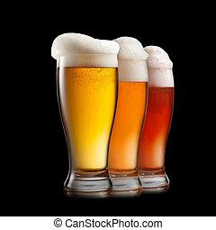 różny, odizolowany, piwo, tło, biały, okulary