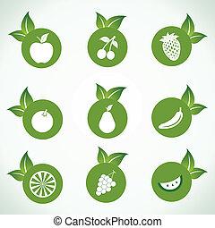 różny, owoc, liść, ikony