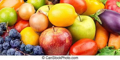 różny, owoce, komplet, warzywa