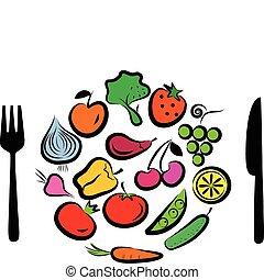 różny, owoce, warzywa, ułożyć, okrągły, połączony