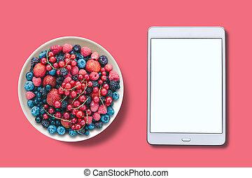 różny, płyta., tabliczka, dobrany, screen., above., biały, jagody, prospekt