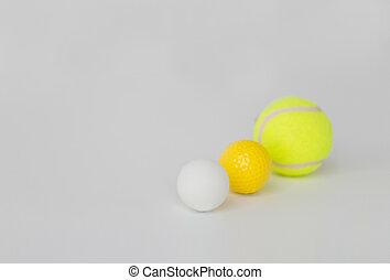 różny, piłki, do góry, lekkoatletyka, komplet, zamknięcie