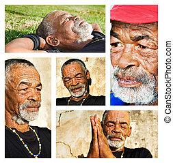 różny, portraits., collage, -, afrykanin, starszy człowiek
