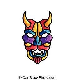 różny, potwór, barwny, maska, kolor, fiołek, czerwony, błękitny