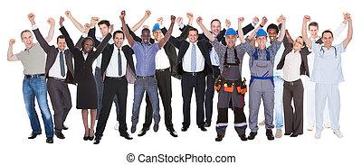 różny, powodzenie, ludzie, okupacje, świętując, podniecony