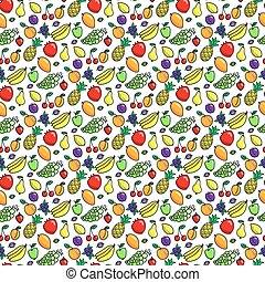 różny, próbka, seamless, tło., hand-drawn, fruits., owoce, biały, oryginał