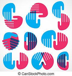 różny, projektować, formułować, ręka