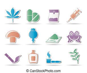 różny, rodzaj, narkotyk, ikony