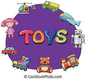 różny, rodzaj, zabawki