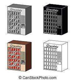 różny, rodzaje, symbol, web., isometric, ilustracja, terminal, jednorazowy, wektor, chocolate., terminals, ikona, styl, rysunek, pień