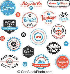 różny, rower, etykiety, i, emblematy