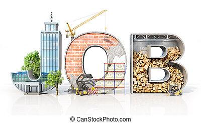 różny, słowo, kształt, concept., ilustracja, werbunek, działalność, job., powierzchnie, 3d