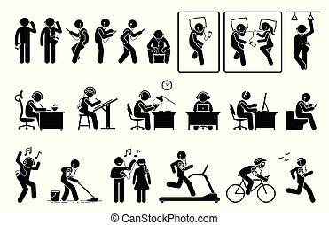 różny, słuchawka, pictogram., telefon, figury, wtykać, słuchający, używając, pozy, człowiek