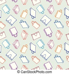 różny, seamless, tło, shopping torby