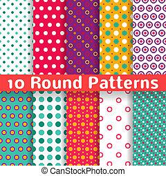 różny, seamless, wzory, formułować, wektor, (tiling)., okrągły