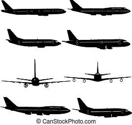 różny, silhouettes., ilustracja, samolot, wektor, zbiór