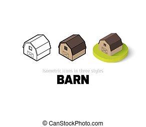 różny, stodoła, styl, ikona