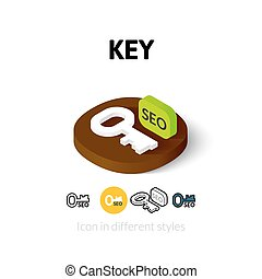 różny, styl, kluczowa ikona