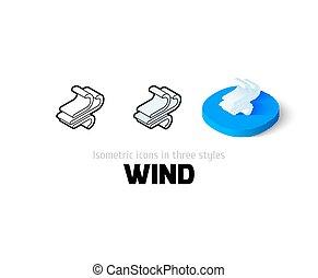 różny, styl, wiatr, ikona