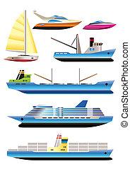 różny, typy, od, łódka, i, statki