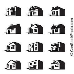 różny, typy, od, domy