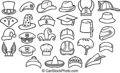 różny, typy, od, kapelusze, cienka lina, ikony, komplet, (cowboy, pirat, baseballowy biret, mistrz kucharski, komisarz, wojskowy, beret, czarodziej, rudzik kapturzą, hełm wikinga, sombrero, kapitan, fedora, fez, cyclist)