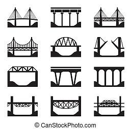 różny, typy, od, mosty