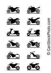 różny, typy, od, motorcycles