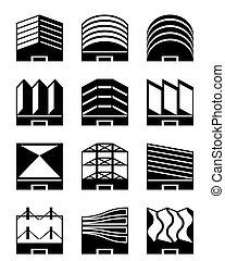 różny, typy, od, przemysłowy, dachy