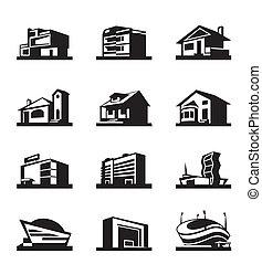 różny, typy, od, zbudowanie