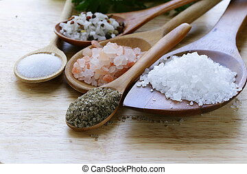 różny, typy, sól