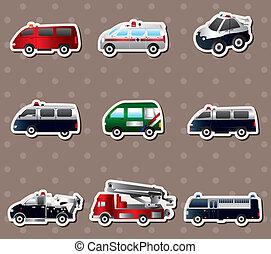 różny, wóz, ilustracja, wektor, majchry, typy